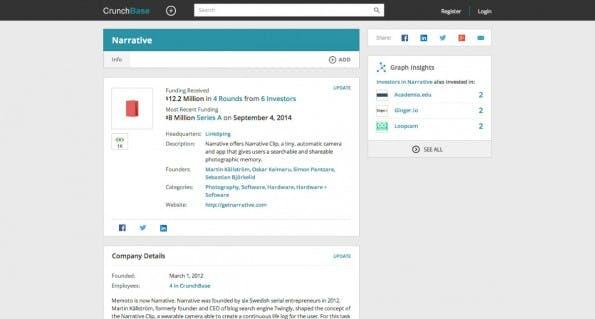 Das CrunchBase-Profil von Narrative. (Screenshot: t3n)