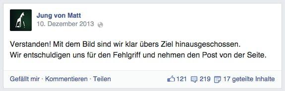 So kann man auf Social-Media-Marketing-Fails reagieren: Jung von Matt entschuldigte sich schnell und aufrichtig. (Screenshot: Facebook)