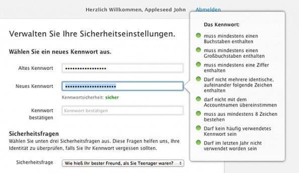 Apple iCloud: Ihr solltet ein möglichst sicheres Passwort für euren Account festlegen. (Screenshot: Apple)