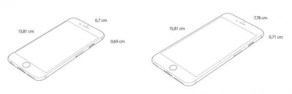 iPhone 6 und iPhone 6 Plus im Größenvergleich. (Grafik: Apple)