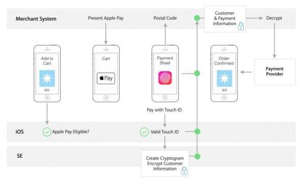 Apple schematisiert den Bezahlvorgang grob in einigen Entwickler-Dokumenten. (Quelle: Apple)