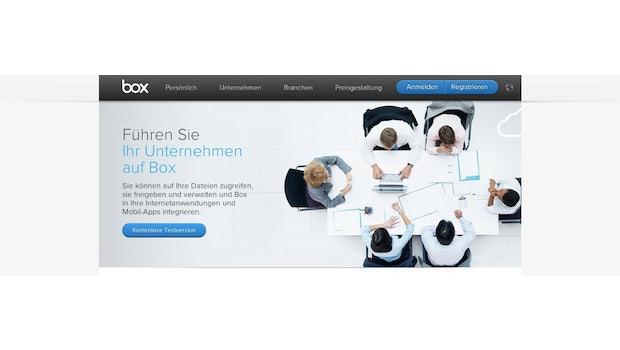Dropbox-Alternativen: Box wurde schon 2005 gegründet. Der Anbieter richtet sich vor allem an Geschäftskunden und bietet Funktionen zum Projektmanagement, zur Dokumentenverwaltung und zur Automation von Arbeitsabläufen an. Außerdem lassen sich andere Systeme wie Google Apps, Netsuite oder Salesforce in Box integrieren. Der Cloud-Speicher bietet Apps für Windows, OS X, Android, iOS, Blackberry, Windows Phone und webOS an. (Screenshot: Box)