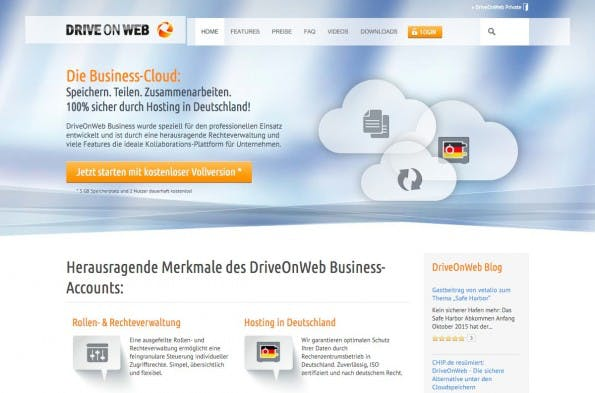 DriveOnWeb ist eine deutsche Dropbox-Alternative. (Screenshot: DriveOnWeb)
