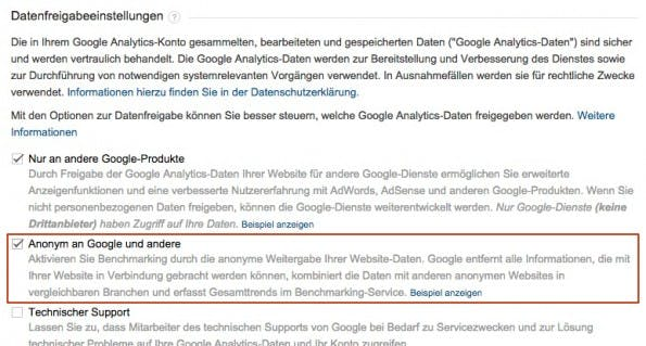 Ohne Datenfreigabe kein Benchmarking. (Screenshot: google.com)