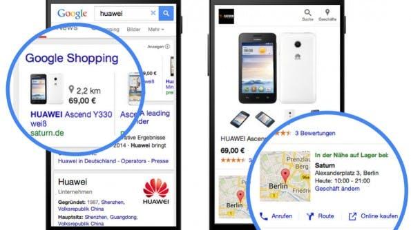 Google informiert in den Produktanzeigen, wo der gesuchte Artikel erhältlich ist. (Bild: Google)