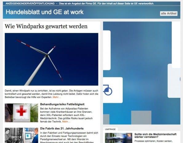 """Die Kampagne """"Handelsblatt und GE at work"""". (Screenshot: handelsblatt.de)"""