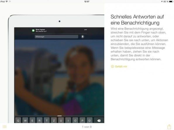 iOS 8 erlaubt das Beantworten von Benachrichtigungen, ohne die entsprechende App öffnen zu müssen.
