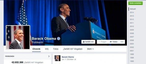 Obama auf Facebook. (Screenshot: facebook.com)