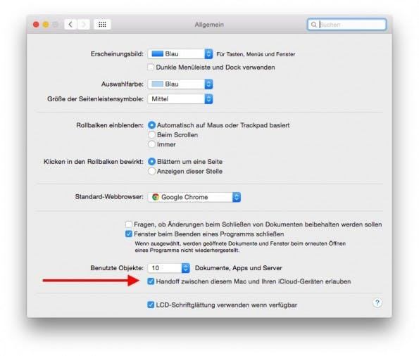 iOS 8 und OS X Yosemite: Hier seht ihr, ob das Handoff-Feature auf eurem Mac aktiviert ist. (Screenshot: OS X Yosemite)