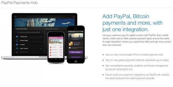 Paypal steckt den ersten Zeh in's Bitcoin Gewässer. (Screenshot: Paypal Payments Hub)