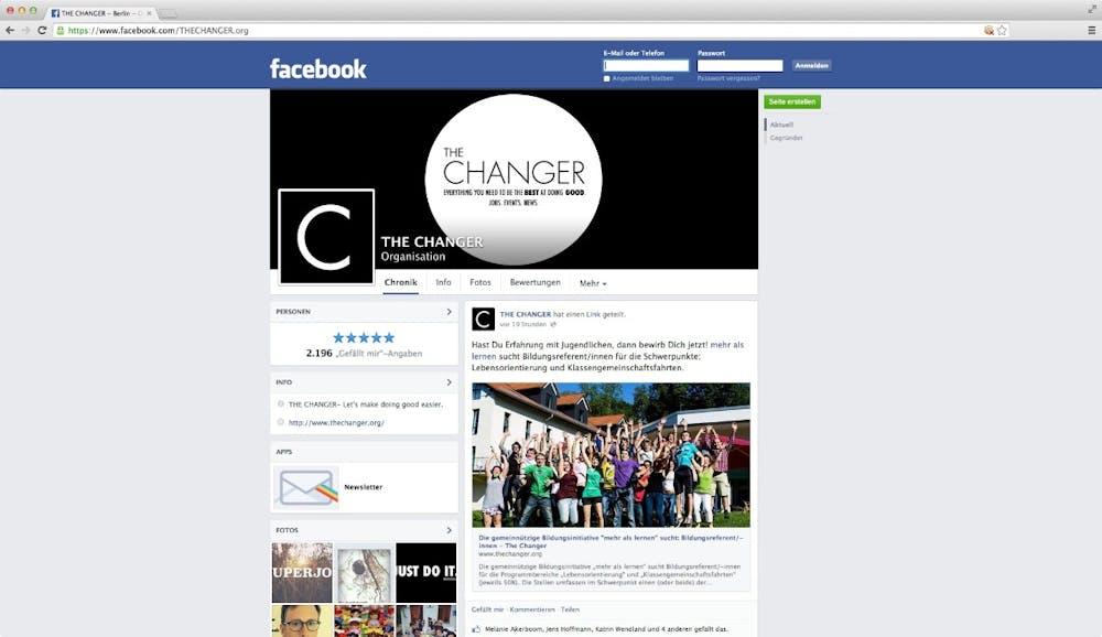 Die Facebook-Seite von The Changer. (Screenshot: Facebook)