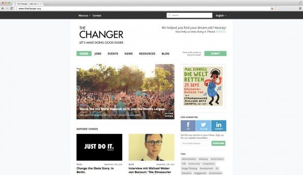 "Die Homepage des Projekts ""The Changer"". (Screenshot: thechanger.org)"