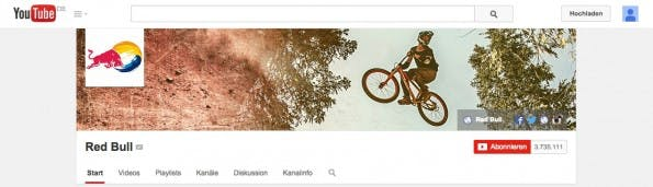 Der Kopf des Kanals von Red Bull. Zu sehen: der Avatar, das Hintergrundbild und weiterführende Links. (Screenshot: youtube.com)