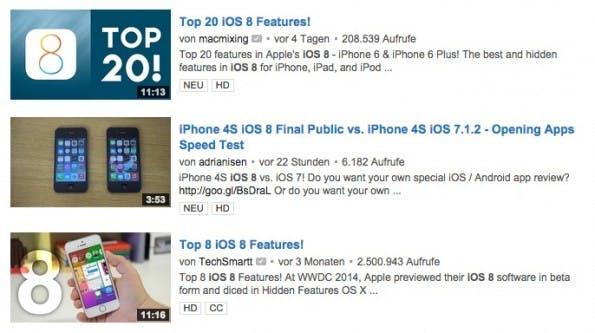 """Drei Videos zum Thema """"iOS 8"""". Gut zu sehen: die umbrechenden Titel sowie die angereicherten Vorschaubilder. (Screenshot: youtube.com)"""