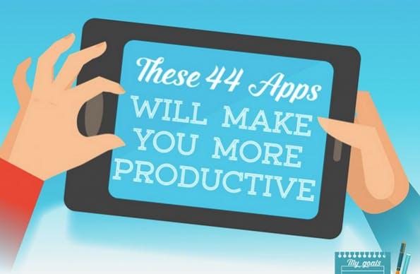 44 Produktivitäts-Apps auf einem Blick. Zum Vergrößern einfach Klicken. (Infografik: conosco)