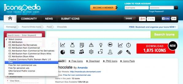 Nicht immer gut fürs Auge: Die Plattform IconsPedia versammelt eine Vielzahl kostenloser Icons. (Screenshot: IconsPedia)