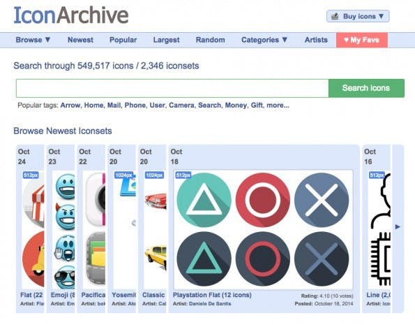 Open-Source-Icons finden sich im IconArchive. (Screenshot: IconArchive)