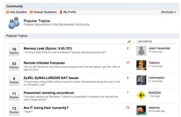 In zahlreichen Foren können sich die Nutzer über Themen und aktuelle Probleme in ihrem Job-Alltag austauschen. (Screenshot: Spiceworks)