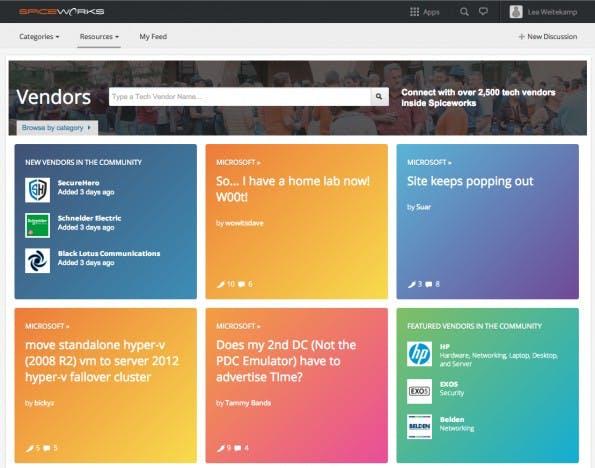 """Bei Spiceworks treten IT-Hersteller wie Microsoft ganz offen als """"Vendor Partner"""" auf. (Screenshot: Spiceworks)"""