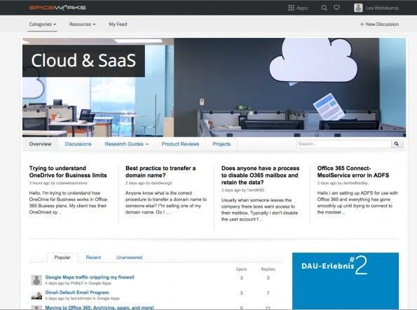 Spiceworks-Nutzer können auf themenspezifische Informationen, Produkte und Diskussions-Threads zugreifen. (Screenshot: Spiceworks)