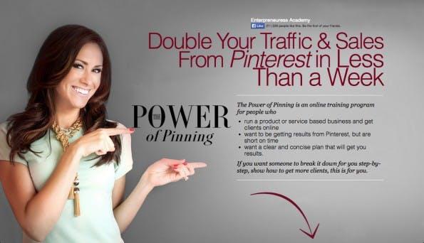 Die Designer dieser Website haben sich genau überlegt, wo der Blick des Nutzers entlang wandern soll. (Screenshot: powerofpinning.com)