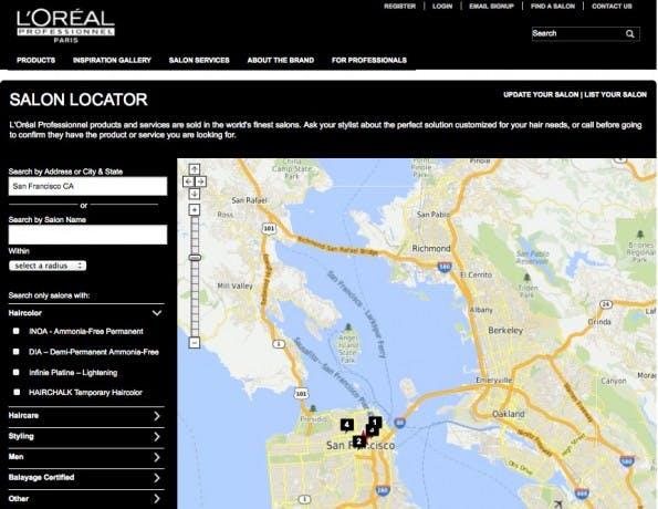 Einer von vielen Produkt-Findern des Konzerns. (Screenshot: L'Oreal)