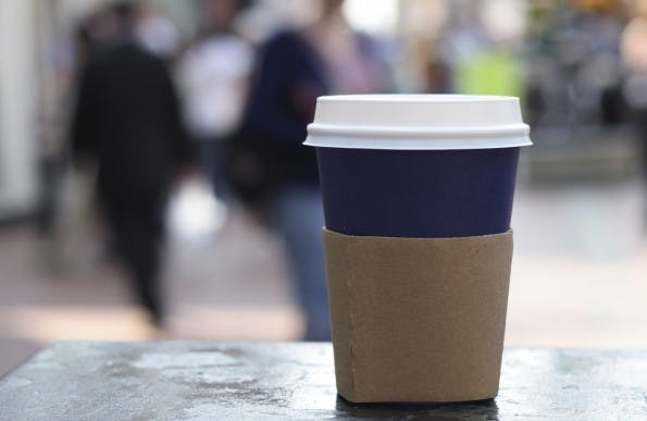 food drink - cup of coffee on a street background