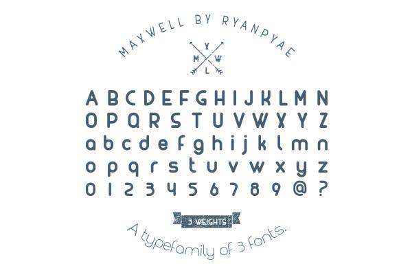 Maxwell ist eine aus drei Fonts bestehende Font-Family von Ryan Pyae. (Grafik: Ryan Pyae)