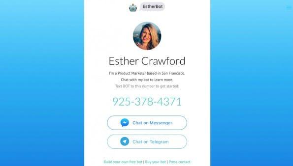 Warum nicht einfach den eigenen Lebenslauf von einem Chat-Bot präsentieren lassen? (Screenshot: Esther Crawford)