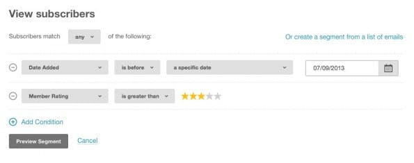 In Mailchimp lassen sich einfach sogenannte Segmente erstellen. (Screenshot: mailchimp.com)