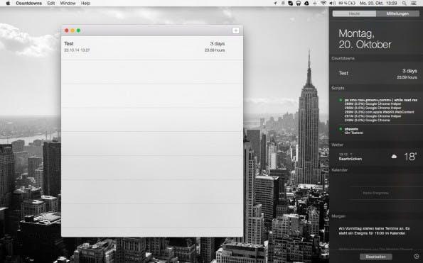 OS X Yosemite: Die Countdowns-App bietet ein Widget für die Mitteilungszentrale. (Screenshot: Yosemite / Countdowns)