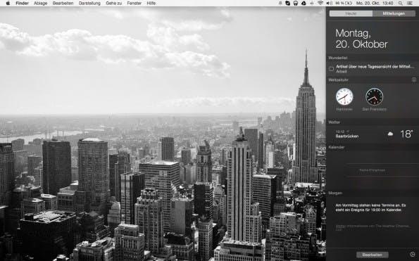 OS X Yosemite: Auch Wunderlist bietet ein eigenes Widget für die Mitteilungszentrale an. (Screenshot: Yosemite / Wunderlist)