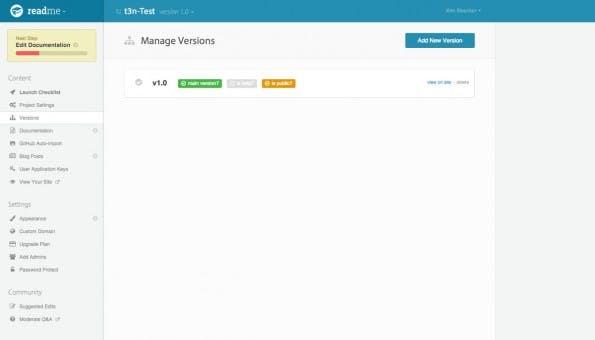 Readme.io bietet auch eine Möglichkeit zur Versionsverwaltung. (Screenshot: Readme.io)