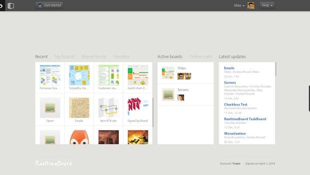 Das Dashboard von RealtimeBoard. (Screenshot: RealtimeBoard)