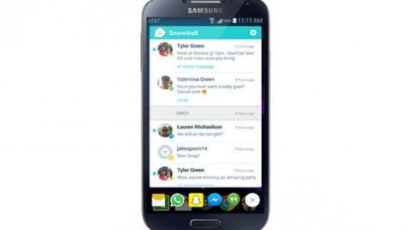 Snowball sammelt Nachrichten aus verschiedenen Apps in einem Screen.