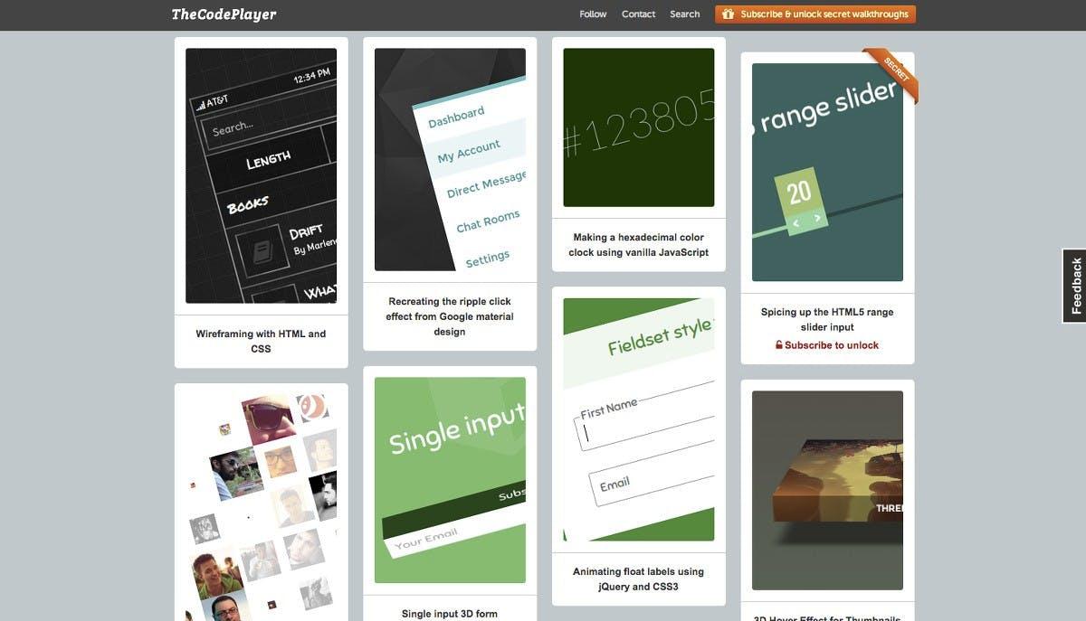 TheCodePlayer bietet eine interessante Auswahl an HTML/JavaScript-Projekten. (Screenshot: TheCodePlayer)