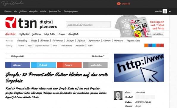 Mit TypeWonder könnt ihr schnell und unkompliziert ausprobieren, wie sich verschiedene Web-Fonts auf eurer Website machen würden. (Screenshot: TypeWonder)