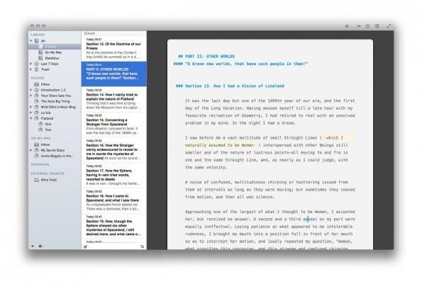 Ulysses III hilft bei der Planung und Strukturierung längerer Texte. (Screenshot: Ulysses III)