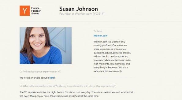 Susan Johnson hat das Startup Women.com gegründet. (Screenshot: Female Founder Stories)