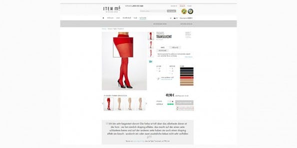 Der Online-Shop von ITEM m6 verkauft hochwertige Legwear-Produkte. Interessante Features wie z.B. Stoff-Finder und Kundenzitate informieren Besucherinnen über das Produkt. (© Screenshot: item-m6.de)