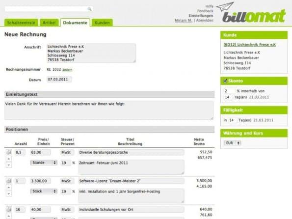 fc6518e46c2adf Online-Rechnung: Das Design des Anbieters Billomat wirkt modern und  aufgeräumt. (Screenshot: billomat.com)
