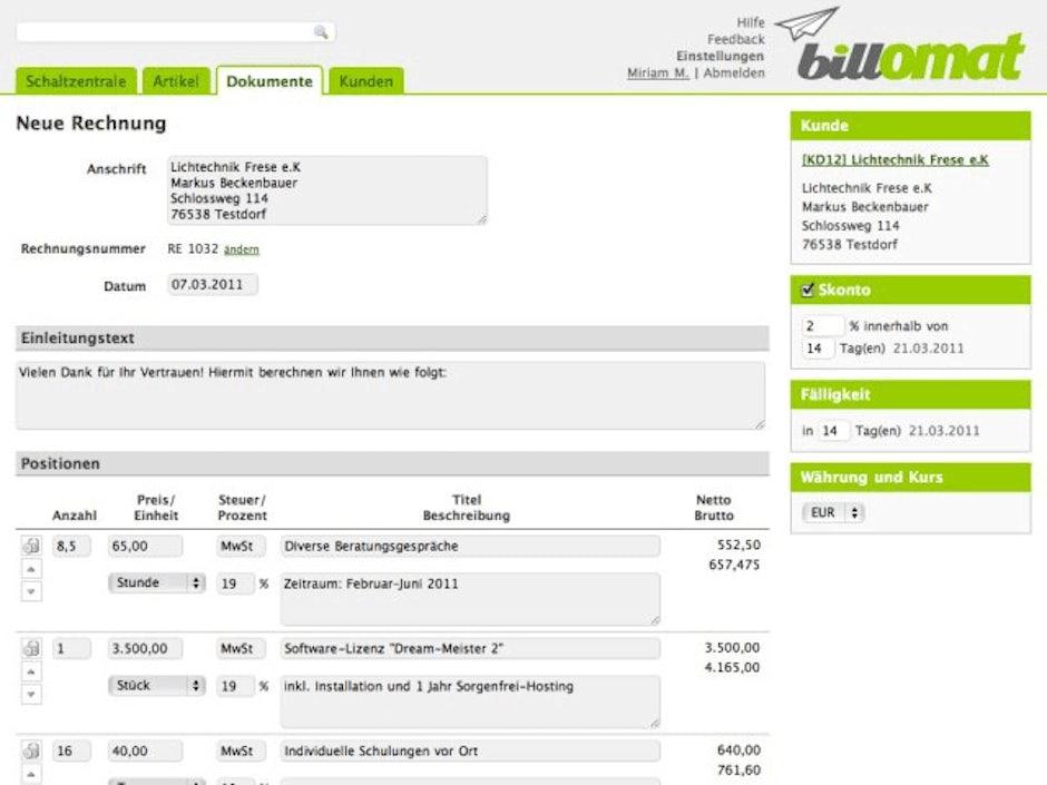 Online Rechnung Billomat T3n Digital Pioneers