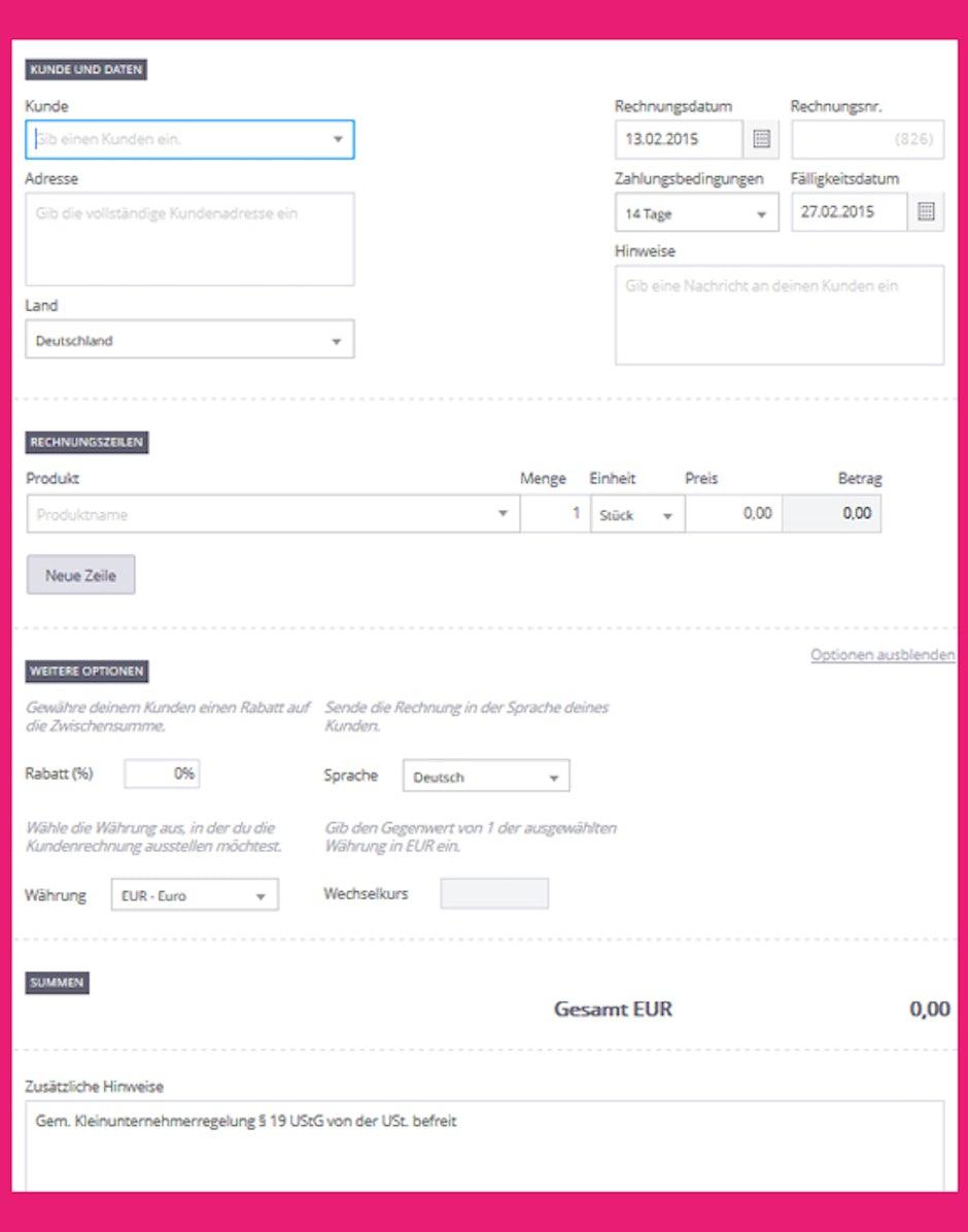 online rechnung rechnungsvorlage debitoor t3n digital. Black Bedroom Furniture Sets. Home Design Ideas