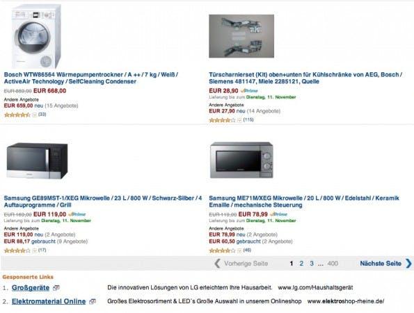 """Neben Werbeanzeigen wie den """"gesponsorten Links"""", hier unten Links im Bild, will Amazon zukünftig auch Werbeplätze auf externen Websiten vermarkten."""