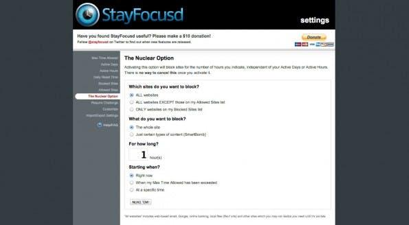 """Mit der """"Nuclear Option"""" können Nutzer bei StayFocusd weitreichende Blocker setzen. (Screenshot: StayFocusd)"""