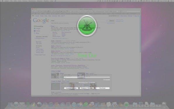 Der Pausen-Timer unter den Produktivitäts-Apps: Time Out zwingt euch, zumindest kurz vom Bildschirm aufzublicken. (Screenshot: Time Out)