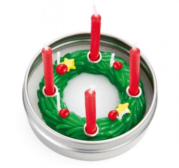 """Ein kleiner Adventskranz wie die """"Candles to go"""" von Donkey Products könnte Büroarbeiter froh machen. (Screenshot: Donkey Products)"""