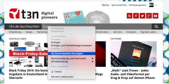 Chrome: Per Rechtsklick könnt ihr jedes Suchfeld zur Omnibox hinzufügen. (Screenshot: Chrome)