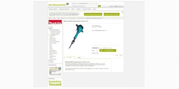 Großzügige Produktpräsentationen und technische Details stehen beim Werkzeugshop betriebsaustatter24 im Fokus. (Screenshot: betriebsausstatter24.de)