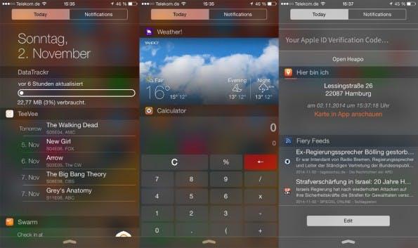 Für iOS 8 gibt es inzwischen etliche tolle Apps mit nützlichen Widgets. (Screenshot: Moritz Stückler)